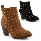 New Ladies High Wooden Heel Studded Zip Ankle Chelsea Boots UK Sizes 3-8