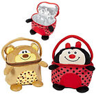 """INSULATED LUNCH BOX BAG 8"""" SOFT CUDDLY PLUSH TOY KIDS PICNIC SCHOOL ANIMAL CARRY"""