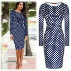 Women Vintage Fashion Long Sleeves Polka Dot Business Casual Wear Pencil Dresses