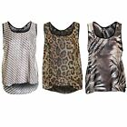 Women's DogTooth Tiger Leopard Butterfly Ladies Sleeveless Chiffon Top Blouse