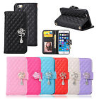 Rhombus Lines Camellia Pendant Leather Wallet Stand Flip Case Cover For iPhone 6