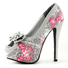 Glam Silver Butterfly Print Bow Platform Club Evening Pump Size 5/6/7/8/9/9.5/10