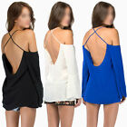 Sexy Womens Spaghetti Straps Off Shoulder Backless Chiffon Tee Shirt Tops Blouse
