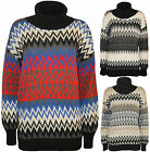 New Womens Pattern Cowl Polo Neck Long Sleeve Top Ladies Knitted Jumper 8 - 14
