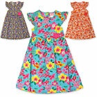 Girls Floral Print Sun Dress Kids Summer Party Dresses New Age 2 3 4 5 6 Years