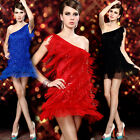 Sexy Ladies One Shoulder Cocktail Party Ballroom Latin Dance Tassel MIni Dresses