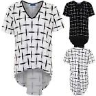 Women's V Neck Short Sleeve Check Pattern Smart High Low Ladies Pleated Top