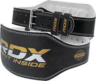 """RDX Weight Lifting 4"""" Leather Belt Back Support Strap Gym Power Training Fitness"""