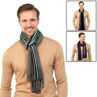 Mens Scarf With Side Stripes Winter Warmer Stylish Accessory With Fringing New
