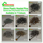 250 x 30mm Plastic Top UPVC  Pins Nails Plastic Headed stainless Steel