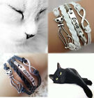 LOVE CAT Beautiful Braided Leather White Black Bracelet *UK SELLER*