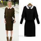 New Fashion Women's Doll Collar Casual Stretch Long Sleeve Cocktail Party Dress
