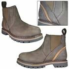 Mens Dealer Chelsea Boots Brown Nubuck Leather Ankle Non Safety Shoes Size 6-12