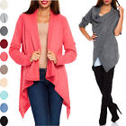 Glamour Empire Women's Knit Waterfall Cardigan Blazer Wrap Turn-up sleeves 298