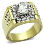 New Stainless Steel Gold IP Men's Cubic Zirconia Wedding Band Ring  Sizes 8-14