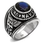 New Stainless Steel Men's US Navy Military Sapphire Blue CZ Ring - Sizes 8 - 13