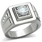 Handsome New Stainless Steel Men's Solitaire CZ Wedding Band Ring - Sizes 8-13