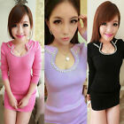 Women Slim Knit Dress Long Sleeve Sweater Dress Tunic Jumper Pullover Tops Shirt