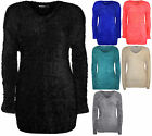 New Womens Plain Fluffy Soft Long Sleeve Top Ladies V Neck Knitted Jumper 8 - 14
