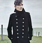 Men Overcoat Jacket Wool Outerwear Military Double Breasted Trench Long Coat L