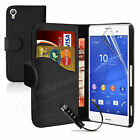 Book Flip Leather Wallet Case Cover For Sony Xperia Z3 Screen Protector