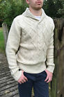 Mens Cable Knit High St Fashion Jumper Knitwear Shawl Cow Neck Cream Beige Stone