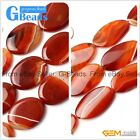 "Oval Banded Agate Red Gemstone Loose Beads Strand 15"" for Jewelry Making"