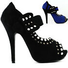 Punk Blue/Black Open Toe Rock Stud Mary Jane Platform Pumps Size 4/5/6/7/8/9/10