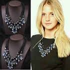Fashion Double Ribbon Chain Blue Red Crystal Rhinestone Drop Statement Necklace