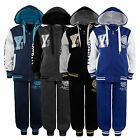 KIDS VARSITY TRACKSUIT 2 PIECE SUIT JOGGING BOTTOMS HOODED TOP BOYS GIRLS 3-16Y