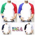 New 3/4 Sleeve Plain Baseball Raglan T-Shirt Men's Sports S-3XL Team Jersey Tee