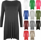New Plus Size Womens Plain Long Sleeve Stretch Dress Ladies Swing Top 16 - 22