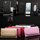 Rhombus Chain Wallet Mirror Case Cover For iPhone 6/Plus Samsung Galaxy Note 4