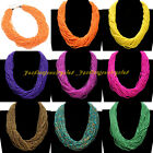 Fashion Handmade Chunky Chain Multicolor Resin Seed Beads Statement Bib Necklace