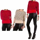 Hidden Fashion Womens Ladies Leopard Animal Soft Touch Eyelash Knitted Jumper