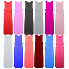 WOMENS JERSEY PLAIN TOGA PUFF BALL RACER BACK LONG VEST MAXI DRESS CELEB 8-16