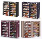 Vinsani 12 Tier Canvas Shoe Shelf Standing Storage Organiser Rack Holds 36 Pairs