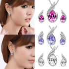 Women Rhinestone Austrian Crystal Water Drop Leaves Earring Necklace Jewelry Set