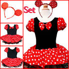 Minnie Reds Princess Christmas Party Costume Tutu Dresses + Hairband AGE 1 to 10