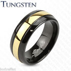 BOLD MENS ACCENT GOLD IP TUNGSTEN CENTER DOME BEVELED EDGE WEDDING BAND RING