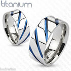AWESOME MENS SOLID TITANIUM SILVER BLUE IP STRIPED WEDDING BAND RING