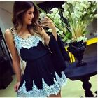 Sexy Women Sleeveless Casual Floral Lace Cocktail Party Slim Short Mini Dress #Y