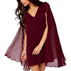 Autumn Casual Women V Neck Flare Sleeve Pullover Chiffon Shawl Cape Mini Dress