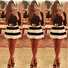 New Sexy Women Long Sleeve White Black Striped Party Cocktail Evening Mini Dress