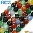 "Round Faceted Mixed Color Agate Gemstone Loose Beads 15"" 4-10mm Jewelry Making"