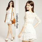 Women Lace Crochet Scalloped Hem Floral Cut Out Crop Sleeve Round Neckline Dress