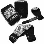 Auth RDX Leather Gel Boxing Gloves Fight,Punch Bag MMA Muay thai Grappling Pad Z
