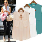 Womens Summer Sleeveless Casual Button Down Shirt Chiffon Tops Blouse Vest Tank