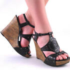 BLACK ANKLE STRAP HIGH HEEL WEDGE SANDAL