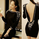 Sexy Women's Pearls Beaded Embellished Backless Cocktail Mini Dress 3/4 Sleeve